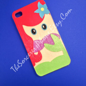 "HANDMADE ""Disney The Little Mermaid Ariel Inspired"" iPhone 4 / 4s / 5 Phone Case, DIsney's Princesses Princess Mod Podge Cover 5c 5s"
