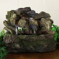 Aged Tree Trunk Tabletop Fountain w/LED Lights