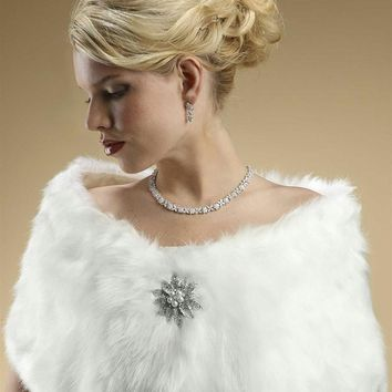 Faux Fox Fur Bridal Wrap
