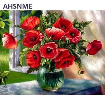 AHSNME 40x50cm window sill red flower pot Manual Diy Oil Painting Kits Wall Art Picture Home Decor Children's drawing learning