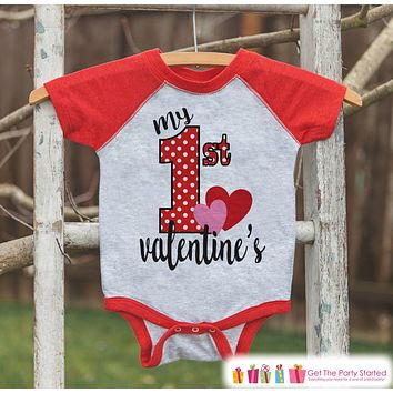 Baby Valentines Outfit - My 1st Valentine's Day Shirt or Onepiece - Boy or Girl Valentine Shirt - Kids, Baby, Toddler, Youth - Red Raglan