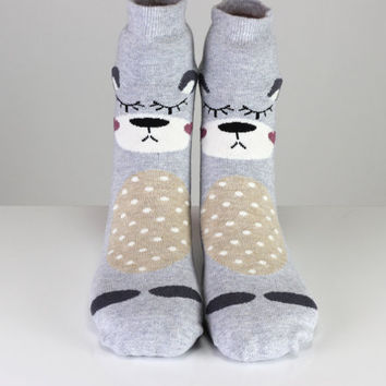 Sleeping Animal Socks Hearth Socks White Polka Dots Socks Cute Socks Girls Socks Women Socks Funny Socks Ankle Socks Animal Socks Fun Socks