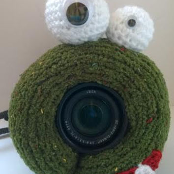 SALE, Camera Cover, Photographer Equipment, Photographer Accessory, Colorful Camera Cover, Lens Buddy, Crochet Monster