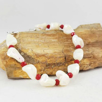 Sterling silver (.925) pearl nugget bracelet, red and white bracelet, holiday bracelet, white jewelry, red accessories, body novelties