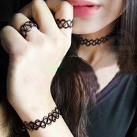 1Set Retro Stretchy Tattoo Choker Necklace Bracelet Ring Black Elastic Boho = 5618297601
