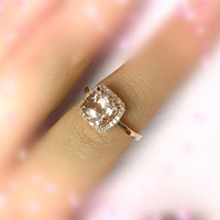 8mm Cushion Cut 14K Rose Gold Pink Morganite Ring Pave Diamond Ring Real Wedding Band Ring Engagement Ring