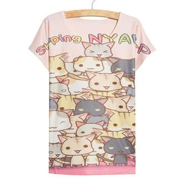 Thin Loose Cute Kawaii Spring Cats Anime Women's 3D T-Shirt