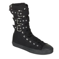 MENS Black Canvas Casual Calf Sneaker Boot With 3 Buckle Punk Rocker Emo Size: 9