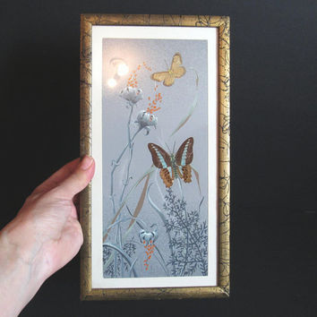 Vintage Preserved Butterfly Art, Framed Butterfly Wings, Floral Wall Hanging