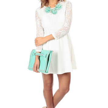 White Lace A Line Dress