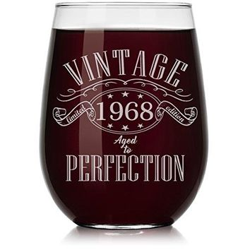 Wine Glass 1968 Vintage Perfection 50th Birthday Limited Edition Stemmed 10oz