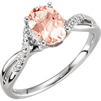 14kt White Gold Morganite & .06 CTW Diamond Ring