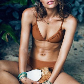 HOT PURE COLOR BROWN SIMPLE TWO PIECE BIKINIS
