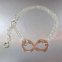 Adjustable Copper Infinity Bracelet with Sterling Silver Filled Chain