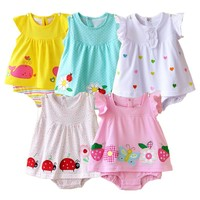 2018 Baby Rompers Summer Baby Girls Clothing Sets Cute Newborn Baby Clothes Toddler Baby Girl Clothes Roupa Infant Jumpsuits