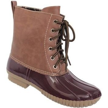 Bordeaux Lace Up Duck Boots