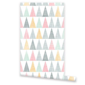 Geometric WALLPAPER, Removable Vinyl Self Adhesive Wallpaper, Wall Decal, Peel & Stick, Repositionable Wallpaper Triangle Pattern