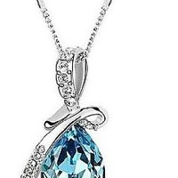 CHOP MALL® Classic (Angel Tears) Platinum-Plated Crystal Necklace Blue