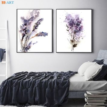 Purple Lavender and Lilac Prints Flowers Watercolor Painting Abstract Botanical Wall Art Canvas Painting Room Home Decor Framed
