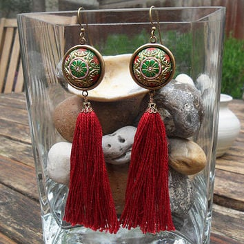 Extravagant long tassel earrings, dark red tassels, marsala red, vintage Czech glass cabochons, oxidized brass, shoulder dusters; UK seller