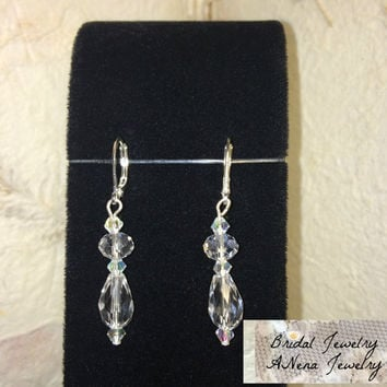 "Women's Earrings: Vintage Inspired Weddings/Bridal Earrings Crystal ""Shimmering Bride"" By ANena Jewelry"