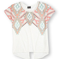 Moa Moa Tribal Split-Back Top - Cream/Multi