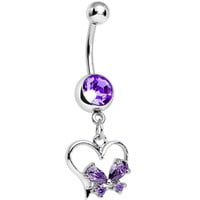 Purple Gem Delightfully Tied Up Heart Dangle Belly Ring | Body Candy Body Jewelry