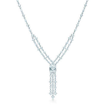 Tiffany & Co. - Diamond Fringe Necklace in platinum with an internally flawless center diamond.