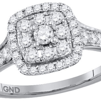 14kt White Gold Womens Round Diamond Halo Cluster Bridal Wedding Engagement Ring 5/8 Cttw 113446