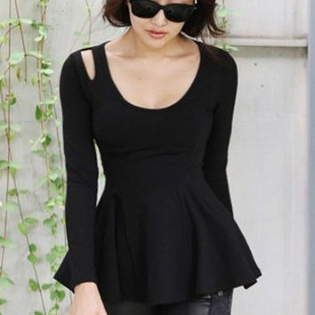 Black Cutout Shoulder Flounced Long Sleeve Blouse