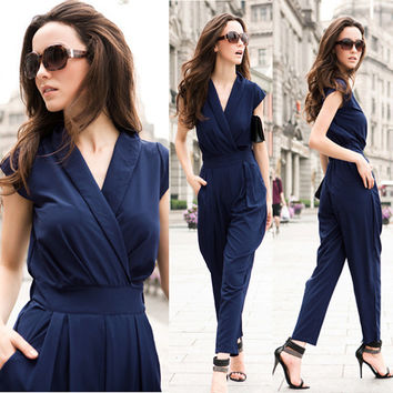 Jumpsuit women's overall sexy fashion waist jumpsuit pants coveralls 3 colors