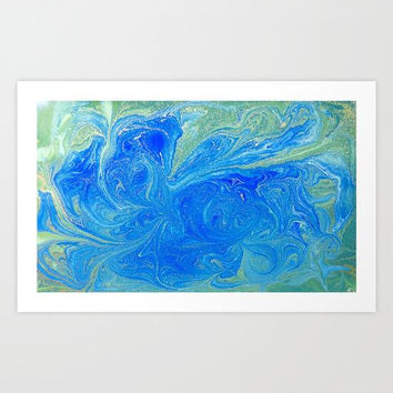 Turquoise Blue Green Watercolor Abstract Art Print, Blue Liquid Marble Print, Blue Abstract Wall Art, Green Abstract Wall Art, Blue Artwork