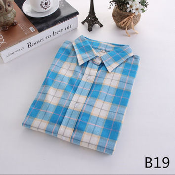 For Her: Baby Blues Medium - 5XL Plaid Flannel Long Sleeve Shirt