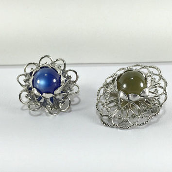 Moonglow Filigree Brooches, Scatter Pins, Hat Pin, Scarf Pin, Mid Century Modern MCM, Stylized Flowers, Silver Tone, Teacher Gift
