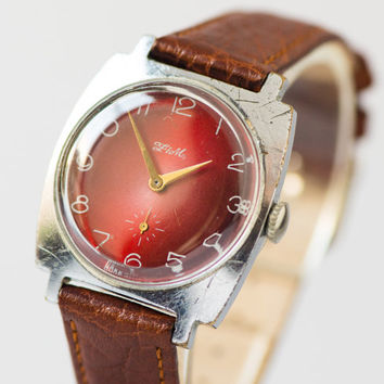 Burgundy dial Soviet men's watch vintage wristwatch for gent premium leather strap watch gift him
