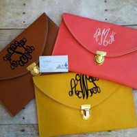 Ladies Monogrammed envelope clutch  Purses or Handbags by adstorey