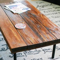 Reclaimed Wood Rectangular Industrial Coffee Table