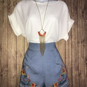 Embroidered high Waisted Chambray Shorts