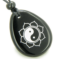 Magic Ying Yang and Lotus Sun Circle Amulet Black Agate Pendant Necklace