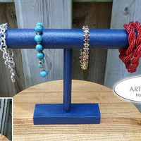 Bracelet Holder Wood Display Bracelet Organizer Bangle Holder Ocean Blue Color Ocean Blue Stain T Bar Bracelet Holder Bracelet Stand