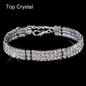 17KM New hot sell gold Color Austrian crystal brand jewelry Multi-chain rhinestone bracelet women wedding Jewellry