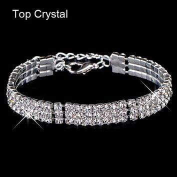 Gold Color Austrian Crystal Brand Jewelry Multi-Chain Rhinestone Bracelet 0912-84