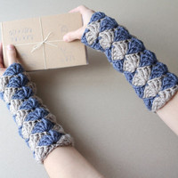 Fingerless Gloves in Taupe & Blue, Crochet  Wrist Warmers, Driving Gloves, Knitted Arm Warmers, Women Jeans Gray Brown Mittens, Gift for Her