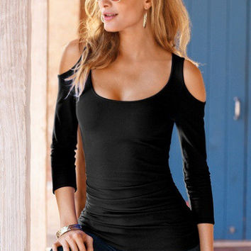 Strapless Open Shoulder Long-Sleeved Solid Color T-Shirt