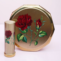Powder Compact Set, Powder Compact, Stratton Mirror Compact, Red Roses, Lipstick Case, Lipstick Holder, Stratton Set, Flowers - 1960s