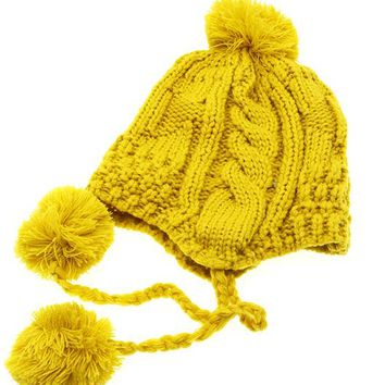 Yellow Ear Flap Winter Beanie Hat And Cap