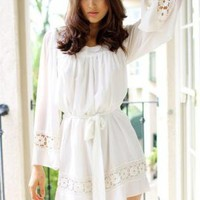 Ivory Long Sleeve Dress with Crochet Detail & Tie Waist