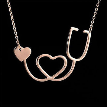 New Medical Stethoscope Heart Collar Necklace Stainless Steel Rose Gold HUUS