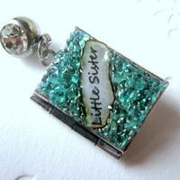 Little Sister Custom Belly Ring Gemstone Locket Antiqued Silver Button Turquoise Birthstone Piercing Stained Glass Jewelry Birthday Gift