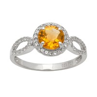 Sterling Silver Citrine & Lab-Created White Sapphire Halo Ring (Stone/White/Citrine)